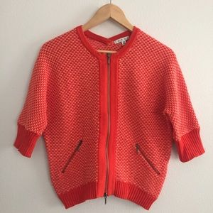 Cabi #195 Orange Cocoon Cardigan - Zip Sweater XS